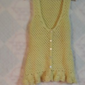Vintage Yellow Crocheted Vest in 70s Style No Size